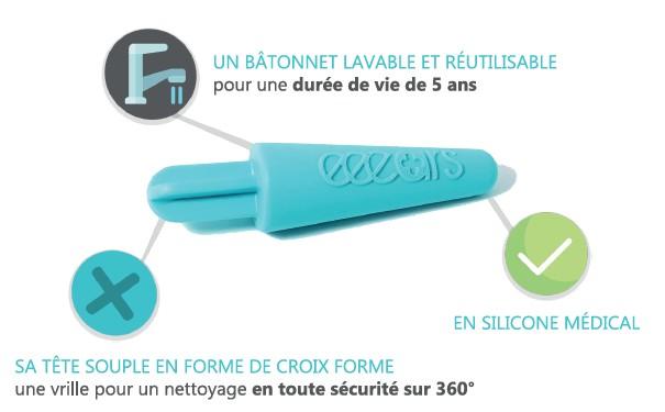 Coton Tige R/éutilisable en Silicone M/édical Fabriqu/é en France eeears